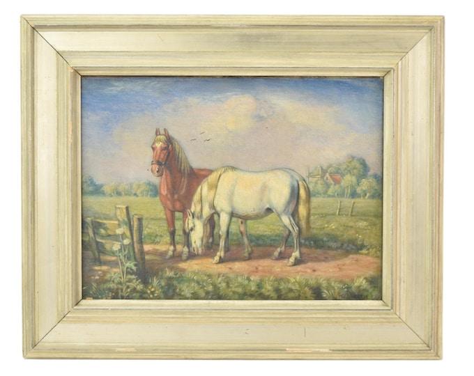 Vintage 1950's Dutch Oil Painting Two Horses in Pasture signed van de Velde