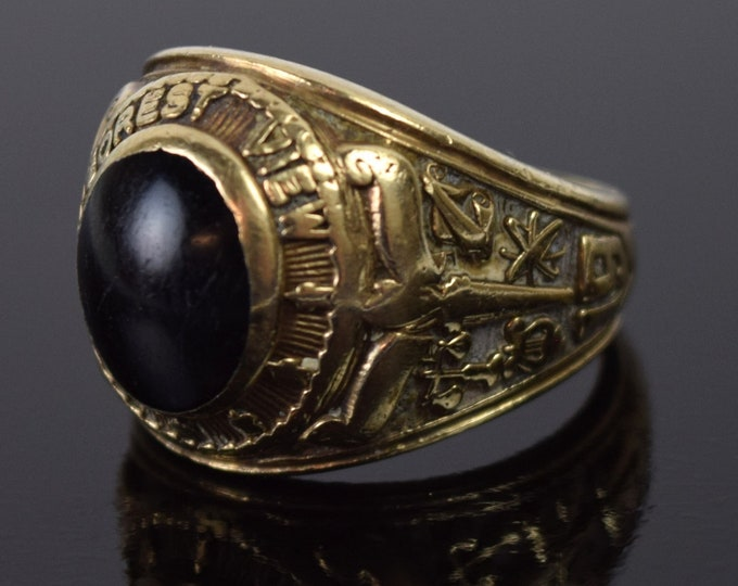 Vintage 1969 Forest View High School Class Ring Black Onyx 10K Gold