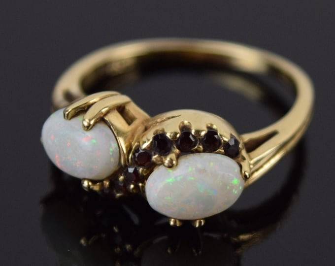 Vintage Estate 14k Yellow Gold Double Opal Serpentine Garnet Ring Inscribed Kimberly