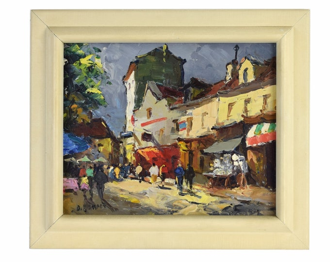 1940's Parisian Street Scene Painting Cafes Pedestrians Period Clothing signed