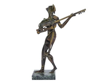 Vintage Mid-Century Cubist Abstact Brass Metal Sculpture of Guitar Player