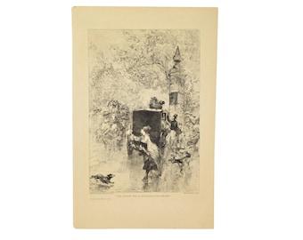 1876 French Etching Edmond Morin Une Averse Sur Le Boulevard Des Italiens