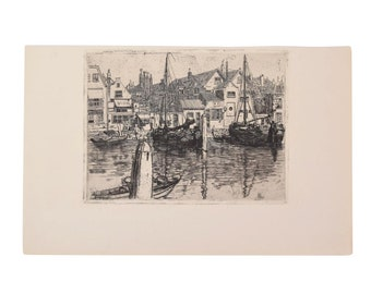 George Charles Aid - The Meuse in Dordrecht 1903 Etching Gazette des Beaux Arts