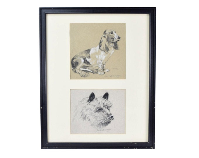 Vintage 1930s Pair Dog Charcoal Drawings Basset Hound & Terrier