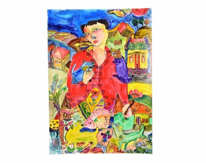 "Original Martin Loh Painting ""Young & Pretty"" Woman w Cats Singaporean Artist"