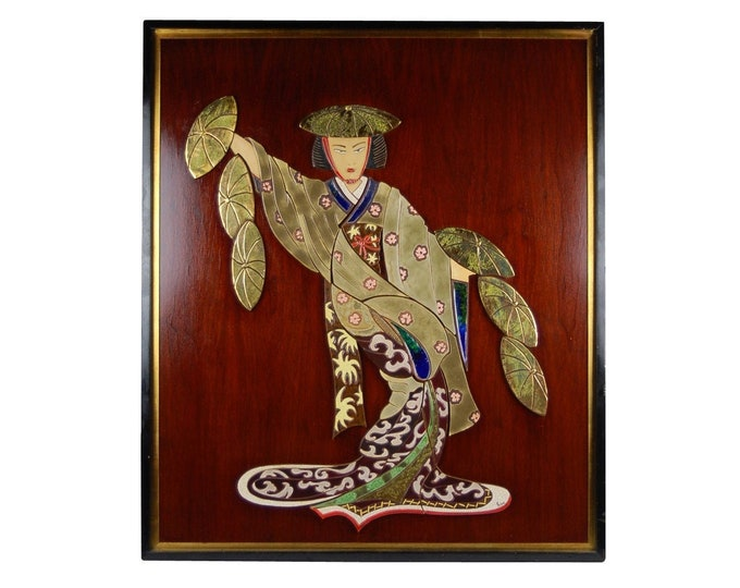 Mid-century Modern Japonaiserie Ceramic Tile Mural of Geisha Girl Irina Lorin