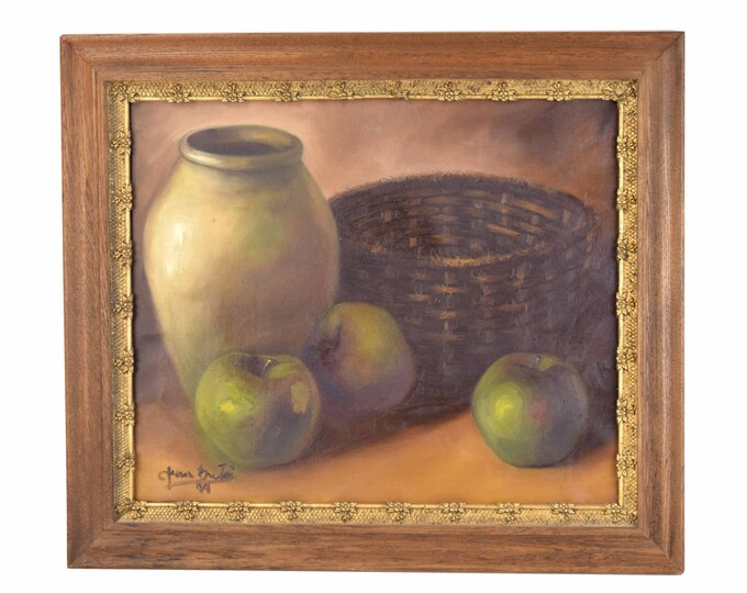 Impressionist Still Life Painting Stoneware Vase with Green Apples & Basket signed
