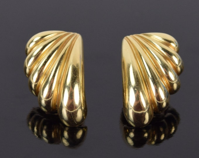 Estate Pair 14k Solid Yellow Gold Dan Frere Shell or Swoosh Shape Earrings