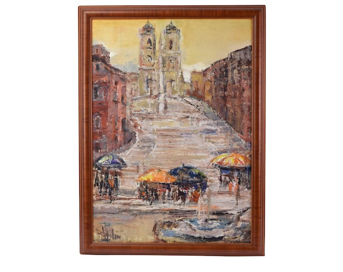 Mid-century Oil Painting Spanish Plaza by Russian artist Wilimowska