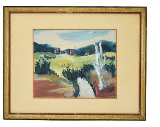 Vintage Mid-Century Modernist Abstract Landscape Gouache Painting H. Mintz