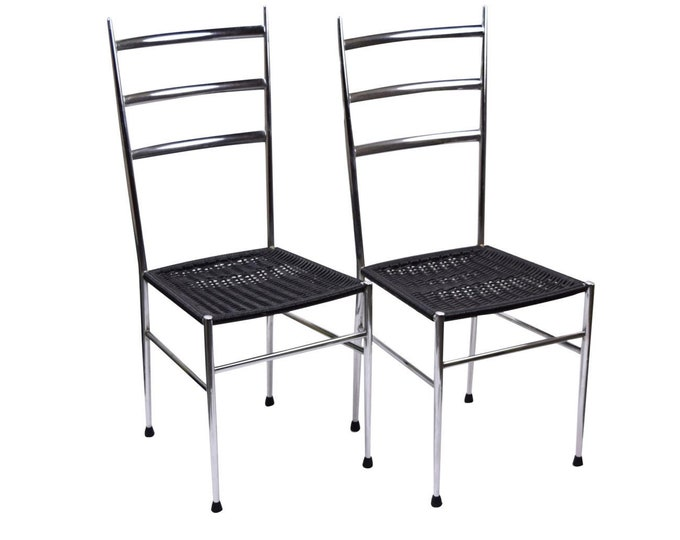 Pair Italian Mid Century Modern Gio Ponti Style Side Ladder Back Dining Chairs