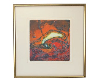 "Vintage ""The Wave"" Mid-century Abstract L/E Lithograph Signed Spitz Chicago Artist"
