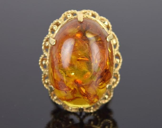 Vintage Estate 14k Solid Gold Ring w Large Natural Amber Cabochon