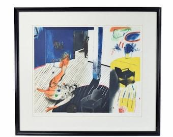 "1984 Modernist Abstract Interior Scene Lithograph ""Les Deux Chaises"" Henryk Ozog Polish Artist"