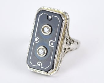 Vintage Art Deco 18k White Gold Filigree Ring Onyx Lozenge Paste Diamonds