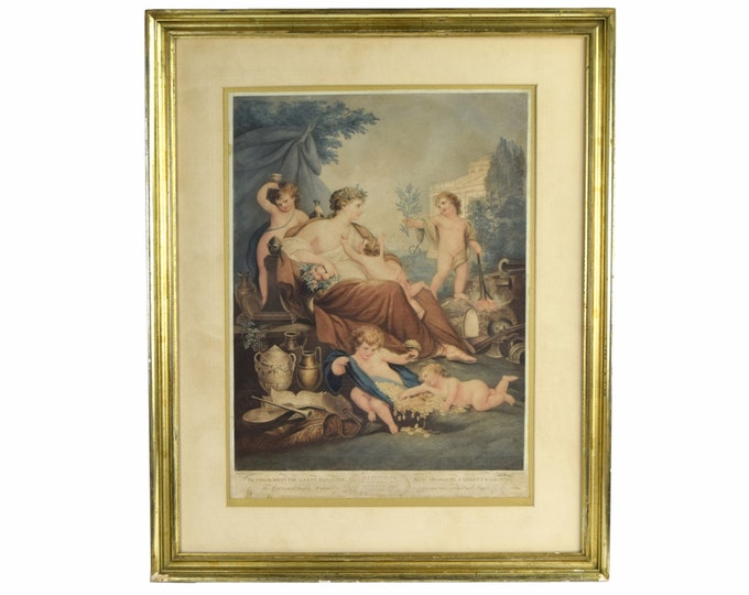 "1799 Hand Colored Allegorical Engraving ""Happiness"" by Burke after Rigaud"
