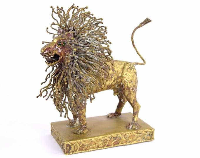 Pal Kepenyes Modernist Brutalist Brass Lion Sculpture Mexican Hungarian Artist
