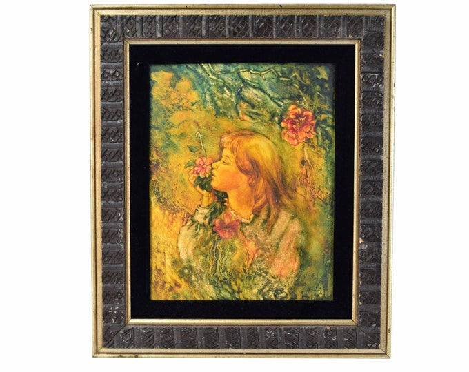 Vintage 1960's Painting Young Girl Smelling Flowers Ruth Pick Chicago