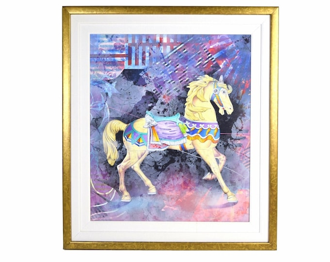 "Yankel Ginzburg ""Organic Sound"" Painting Carousel Horse Abstract Scene"