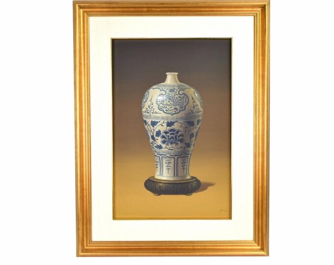 Vintage Photo Realist Painting Antique Chinese Porcelain Bottle Vase Lotus signed