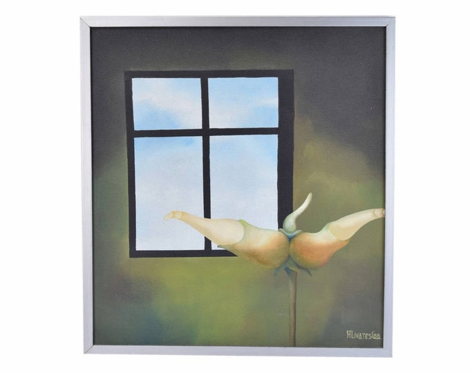 Surrealist Oil Painting Flowering Bud in Front of Window to the Sky Signed Olivares