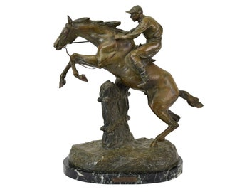 "Sculpture ""Saut D'Obstacle"" Obstacle Jump Horse and Rider French Bronze after Antoine Bofill"