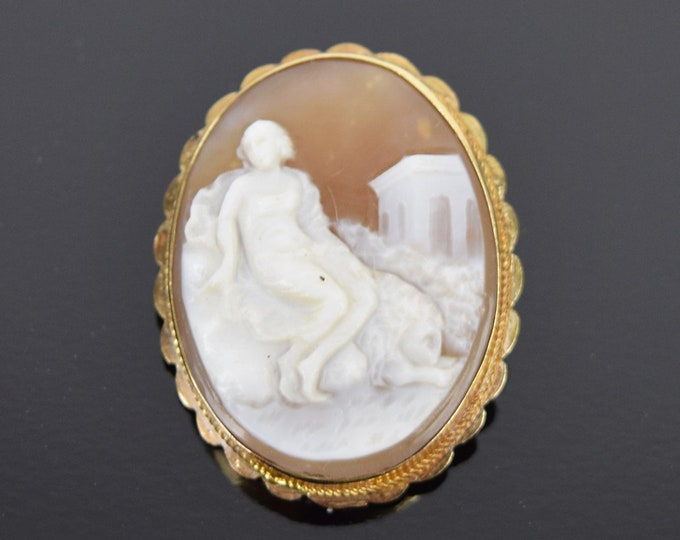 Antique 14K Gold Carved Cameo Pendant Brooch Woman Diaphanous Gown Ancient Ruins