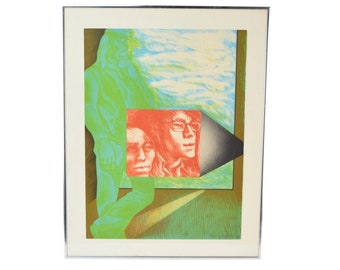 1970's Color Lithograph L/E Print of Young Couple w Biker Dude Chicago Artist