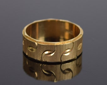 Vintage Mid-Century Modern 14k Solid Gold Wedding Band Ring Engraved Pattern Sz 10