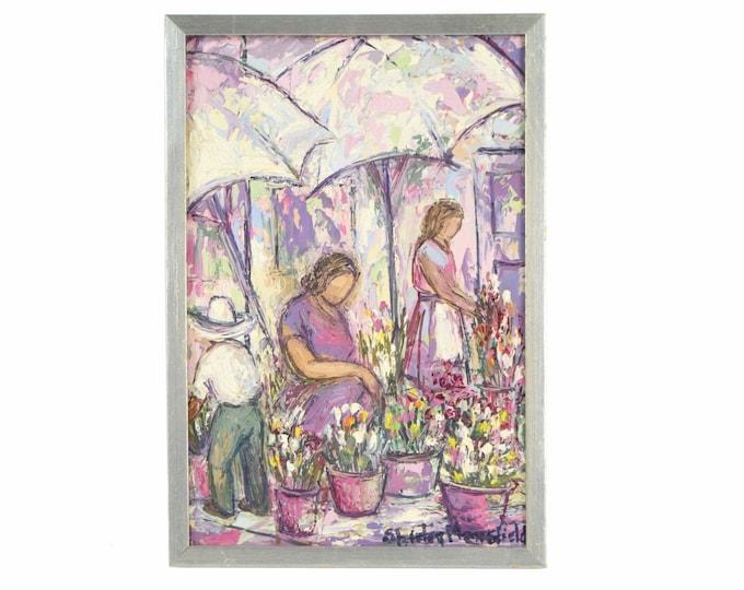 Shirley Mansfield Oil Painting Mid-Century Flower Market Chicago Artist