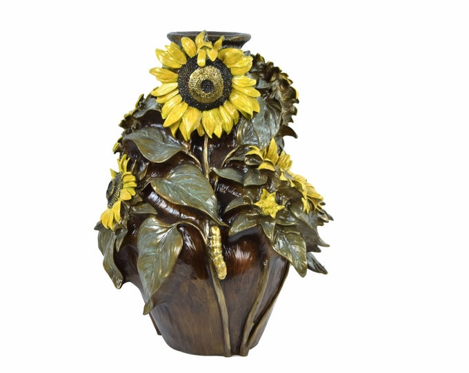 Kristine Poulson Cold Painted Bronze Sunflower Vase w Bee Caterpillar L/E signed