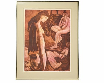 Vintage Mid-Century Portrait of Group of Three Nude Women Color Lithograph 1970s