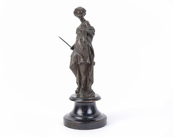 19th C Sculpture Artemis Diana Goddess of the Hunt w Spear & Pheasant