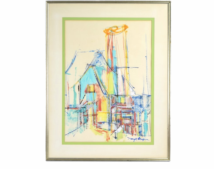Mid-Century Modern Abstract Architectural Painting Margot Bergman Chicago