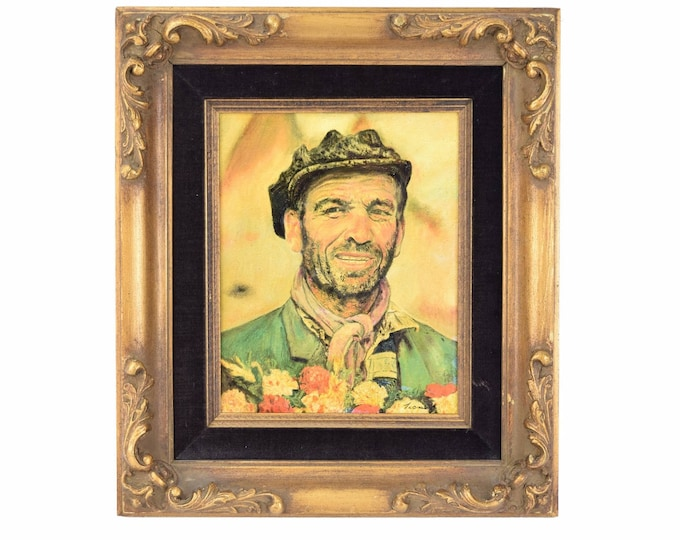 Vintage Oil Painting Swarthy Roughneck Guy w Beard and Scarf signed
