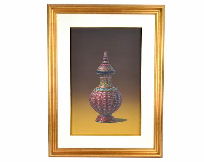Vintage Photo Realist Still Life Painting Thai Porcelain Benjarong Jar signed