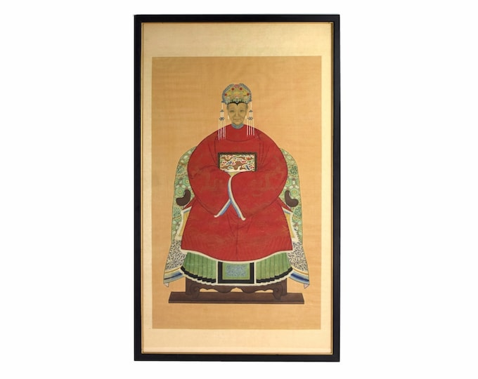 Antique Chinese Ancestor Portrait Painting on Silk Woman in Red Robe