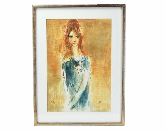 Vintage Mid-Century Israeli Abstract Painting Young Woman w Elongated Neck Shlomo Chotzen