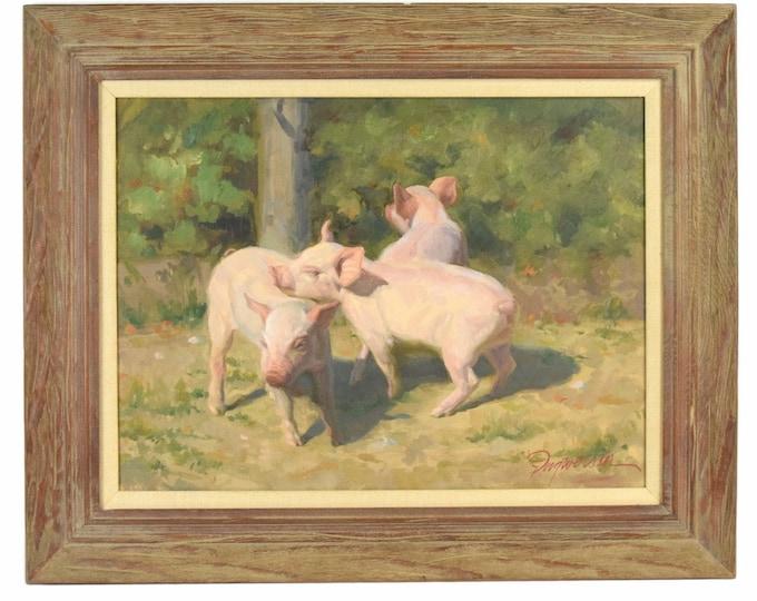 James Ingwersen Trio of Baby Pigs Piglets Painting Door County Wisconsion Artist
