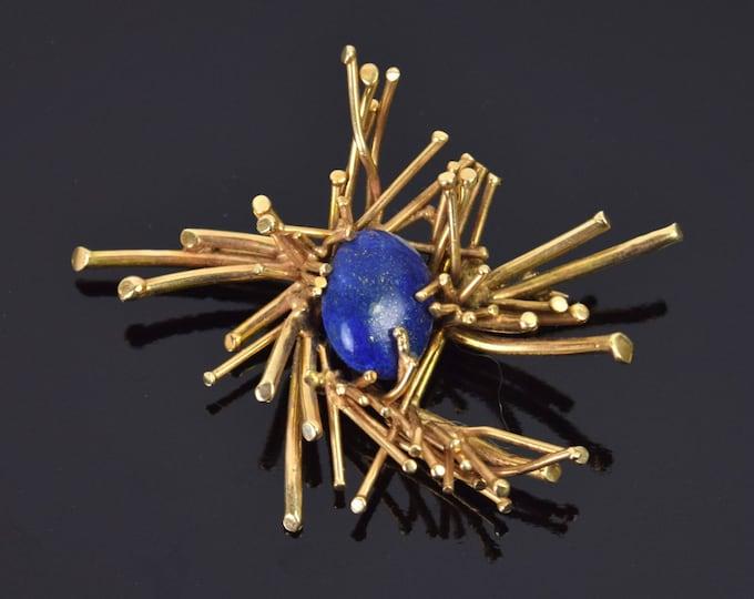 Vintage Brutalist 14k Solid Gold Pin Brooch with Lapis Lazuli Cabochon Center