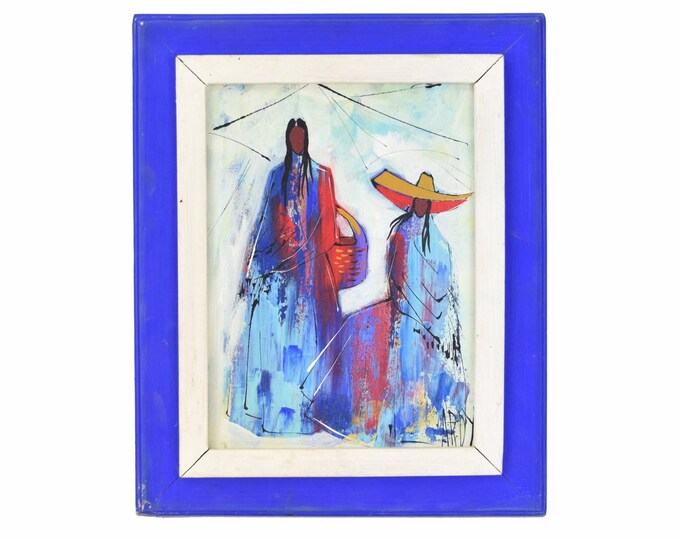 Vintage Oil Painting Latin American Women in Mod 1970's Fashion signed Ardy