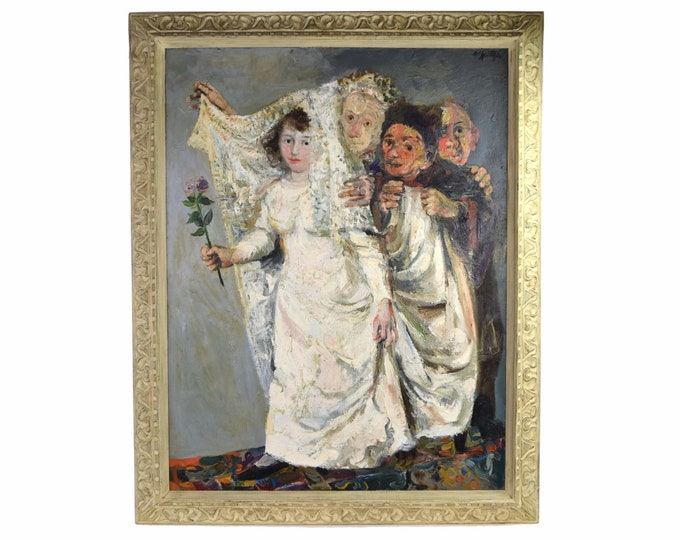 Walter Spitzer Jewish Bride Wedding Allegory Painting Polish French Artist