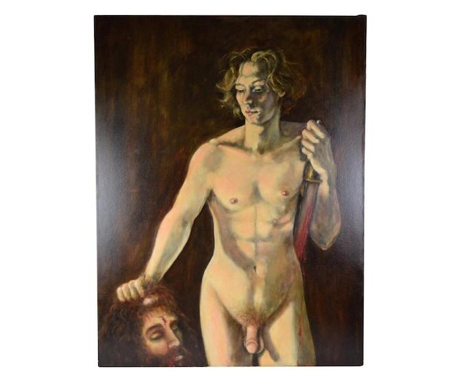 Nude Male Figure Oil Painting Portrait David w Goliath's Severed Head Sgnd Thomas Burger
