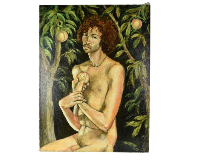 Nude Figure Oil Painting Adam in the Peach Garden Signed Thomas Burger