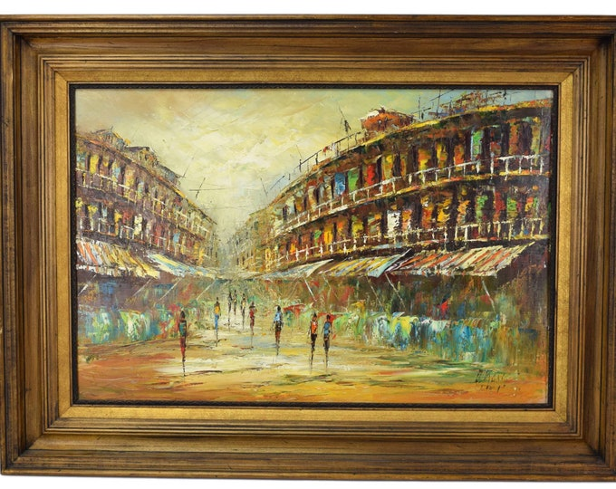 Vintage Mid-century Modern Abstract Street Scene Oil Painting Signed
