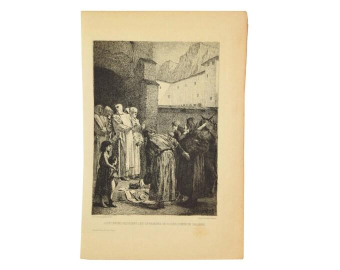 JEAN-PAUL LAURENS St. Bruno Refusant Les Offrandes de Roger Comte de Calabre Etching