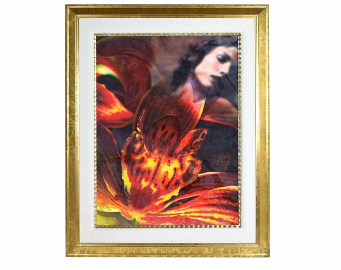 Ginzburg Original Surrealist Painting Woman w Superimposed Fiery Red Flowers