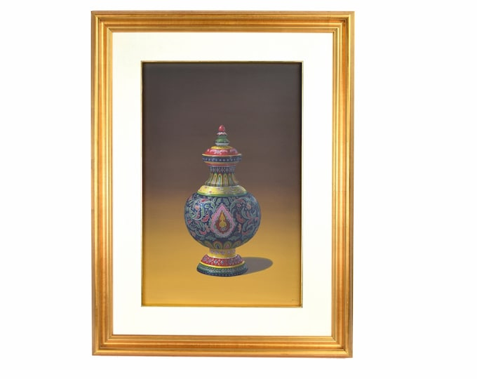 Vintage Photo Realist Still Life Painting Thai Porcelain Benjarong Jar with Buddha signed