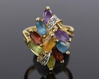 Vintage Mid-Century Modern 14k Solid Gold Ring w Confetti Marquise Gemstones