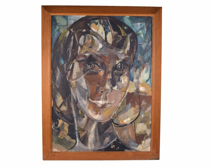 Large Mid-Century Modern Oil Painting Abstracted Face of Young Woman with Piercing Eyes
